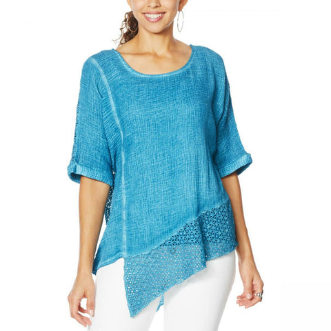 Democracy Women's Mineral Wash Top With Crochet Detail