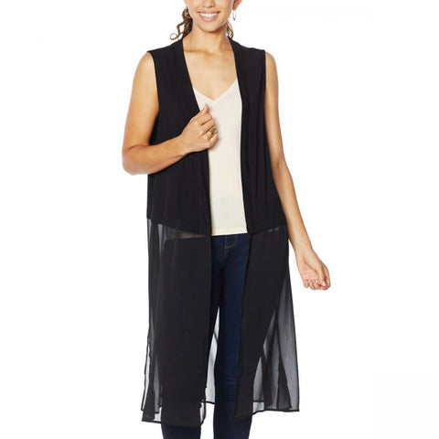 Rhonda Shear Women's Mixed Media Duster Vest