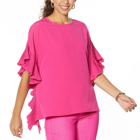 DG2 by Diane Gilman Women's Pleated Poncho Blouse