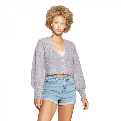 Wild Fable Women's Cropped Button Front V-Neck Bubble Sleeve Cardigan
