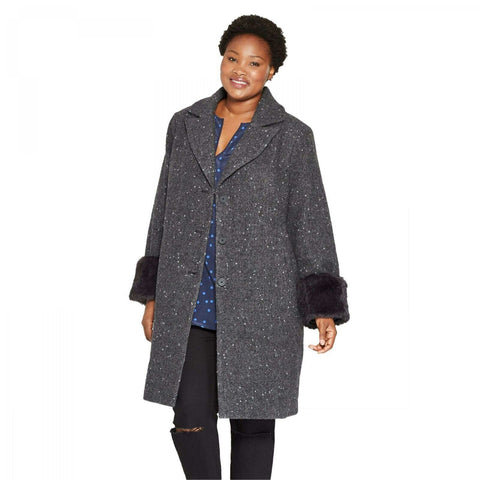 Ava & Viv Women's Plus Size Single Breasted Overcoat with Faux Fur