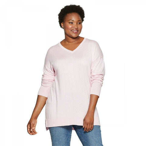 Ava & Viv Women's Plus Size Long Sleeve V-Neck Fine Gauge Pullover Sweater