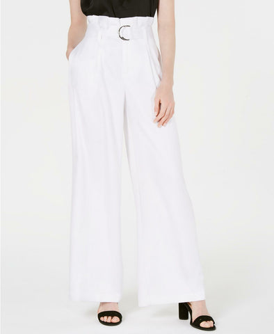 Bar III Women's Satin Belted Paperbag-Waist Wide-Leg Pants. 100054149 White 2