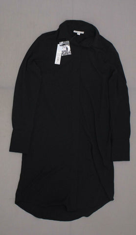Prologue Women's Long Sleeve Collared Button Down Dress Black XS