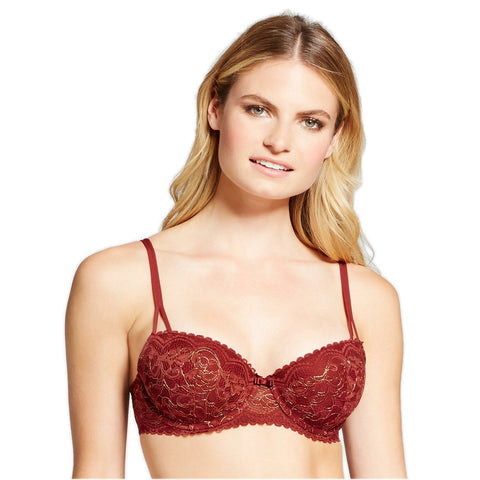 Gilligan & O'Malley Lace Overlay Undwire Padded Push Up Balconette Bra