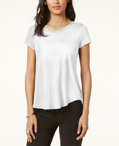 Alfani Women's Petite Satin-Trim High-Low T-Shirt Tee. 7664SWT677 Soft White PL