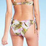 Shade & Shore Women's Textured Side Tie Ruffle Cheeky Bikini Bottom