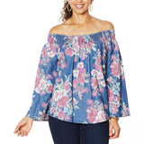 DG2 by Diane Gilman Off the Shoulder Floral SoftCell Top Midtone Large