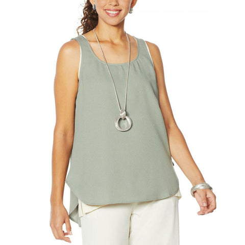 MarlaWynne WynneLayers Women's Crepe Georgette Shirttail Tank Top Blouse
