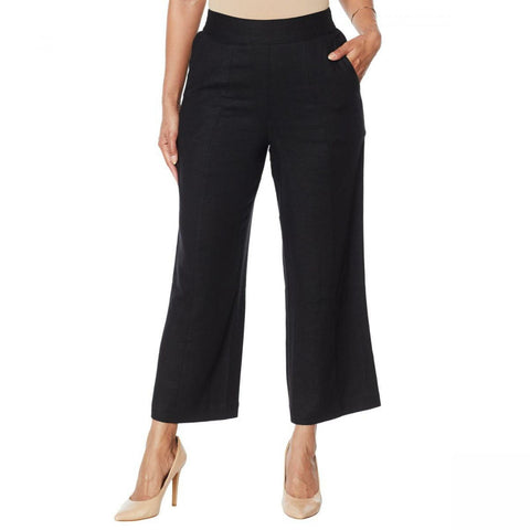 DG2 by Diane Gilman Women's Plus Size Stretch Linen Blend Crop Pants