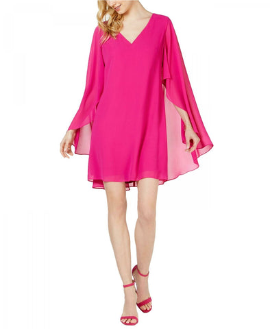 Vince Camuto Women's Chiffon Sheer Cape V-Neck Dress. VC9M9248 Fuschia Pink 4