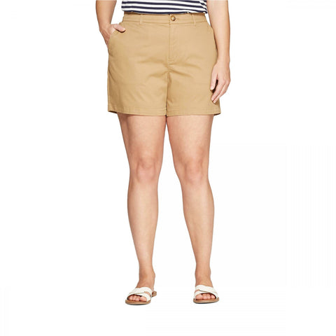 Ava & Viv Women's Plus Size 5 Inch Chino Shorts with Comfort Waist