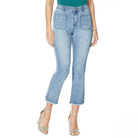 DG2 by Diane Gilman Women's Petite Star Needlepunch Cropped Jeans