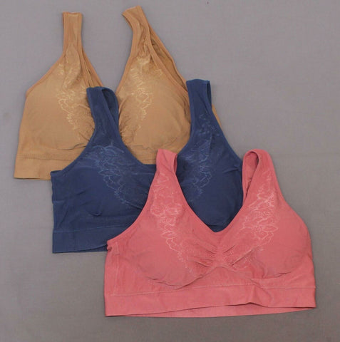 Rhonda Shear LOT OF 3 Jacquard Ahh Bras with Removable Pads Classics Plus 3X