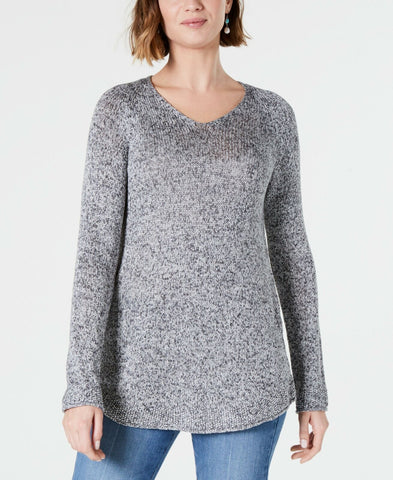 Style & Co. Women's Petite Marled-Knit V-Neck Sweater. 100047775PT Grey PP