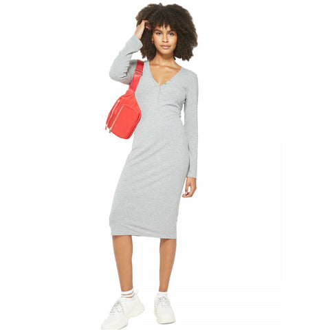Wild Fable Women's Long Sleeve Rib Henley Midi Dress