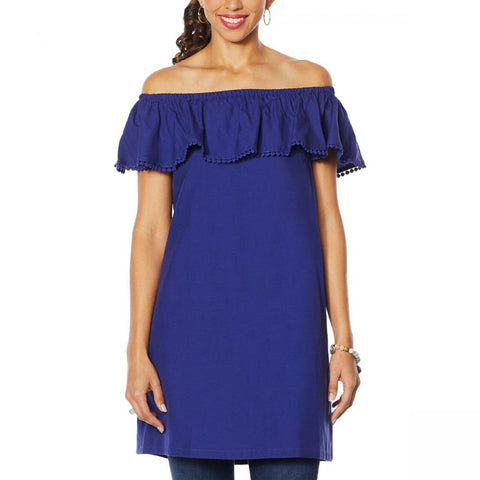 Colleen Lopez Women's Palm Paradise Ruffle Off the Shoulder Dress