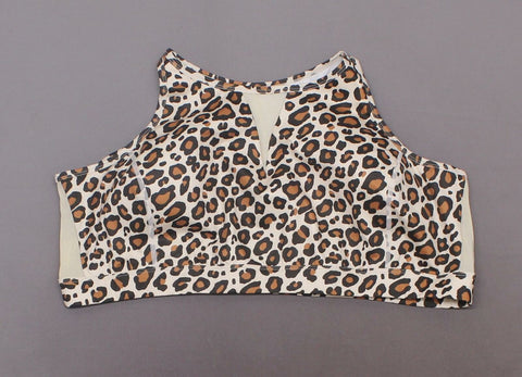 WVVY Plus Size Power High Neck Mesh-Inset Sports Bra Natural Leopard 3X