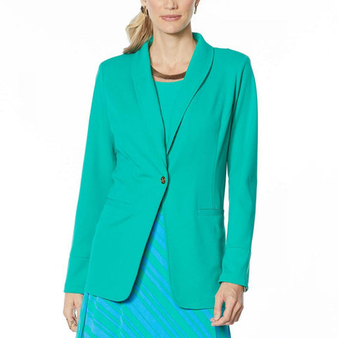 IMAN Women's Global Chic Luxury Resort Blazer With Printed Cuffs