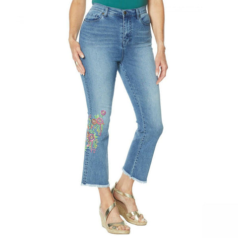 DG2 by Diane Gilman Women's Neon Embroidered Kick Flare Crop Jeans