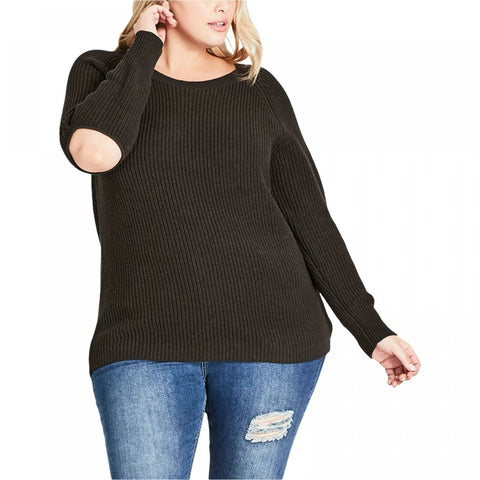 City Chic Women's Trendy Plus Size Elbow Cutout Sweater