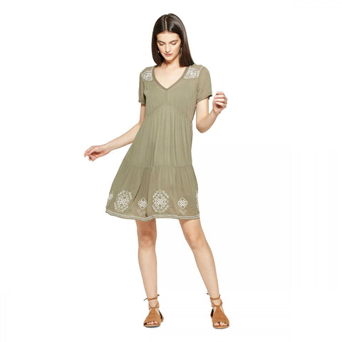Knox Rose Women's Boho Embroidered Shift Dress