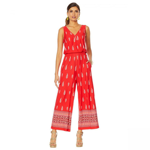 Curations Women's Printed Wide Leg Sleeveless Knit Jumpsuit