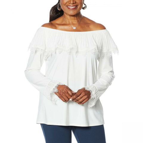 Antthony Women's Pleated Ruffle Long Sleeve Top