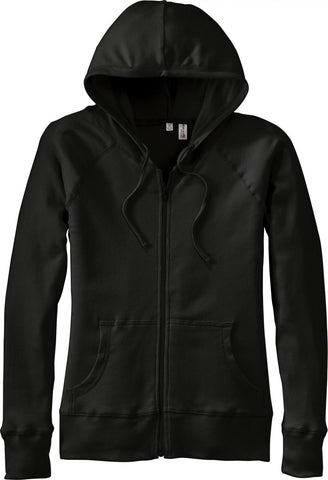 District Threads Women's Mini Ribbed Full Zip Hoodie DT227 Black Large
