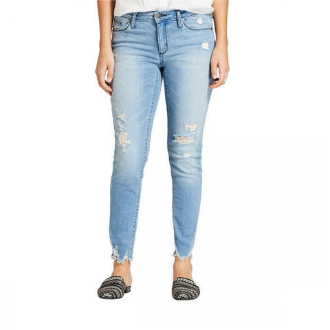 Universal Thread Women's Light Wash Mid-Rise Destructed Skinny Jeans
