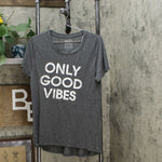 Modern Lux Women's Short Sleeve Only Good Vibes Graphic T-Shirt