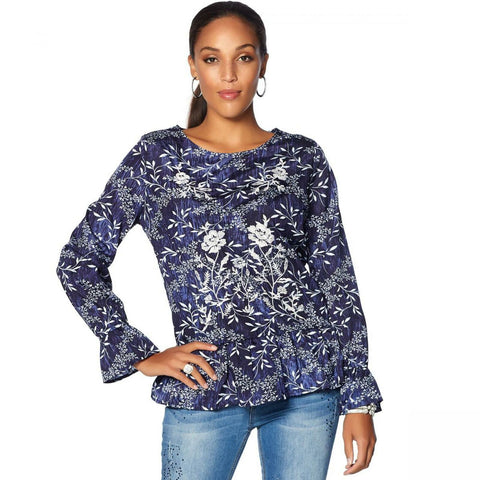 LaBellum by Hillary Scott Women's Long-Sleeve Ruffle Blouse