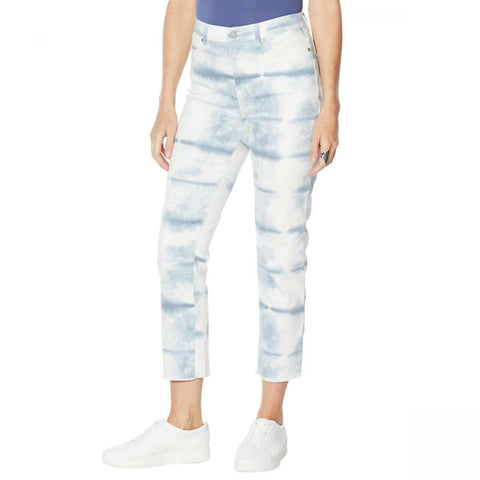 DG2 by Diane Gilman Women's Petite Classic Stretch Tie Dye Straight Cropped Jeans