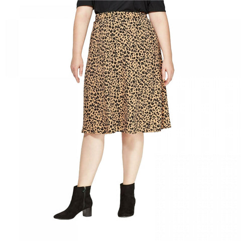 Ava & Viv Women's Plus Size Animal Print Midi Skirt