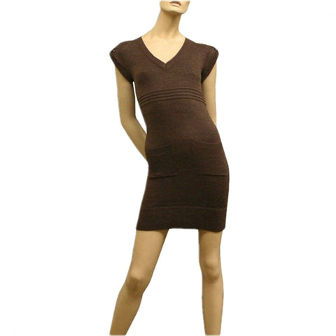 Wet Seal Women's V-Neck Sleeveless Tunic Sweater Dress with Pockets