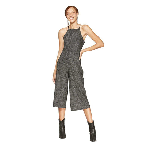 Wild Fable Women's Metallic Square Neck Knit Cropped Jumpsuit