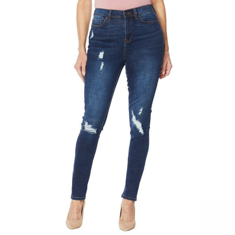 DG2 by Diane Gilman Women's Virtual Stretch Destructed Skinny Jeans