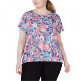Ideology Women's Plus Size Wallflower Printed Keyhole Back Top