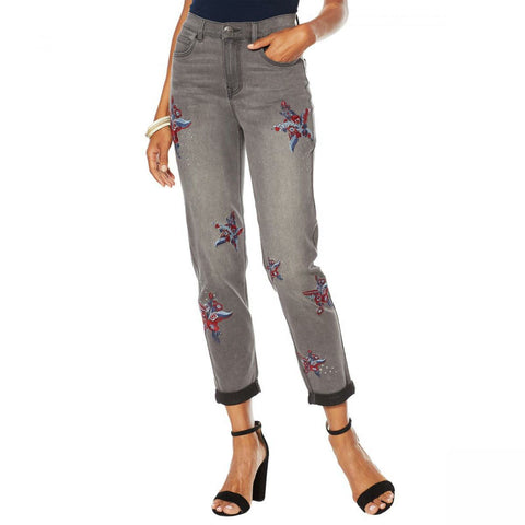 DG2 by Diane Gilman Women's Virtual Stretch Embroidered Star Jeans