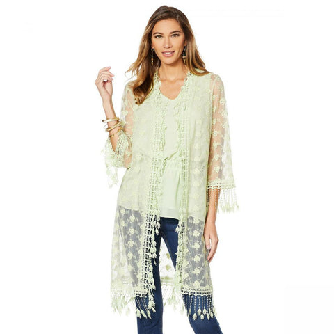LaBellum by Hillary Scott Women's Lace Duster With Crochet Fringe