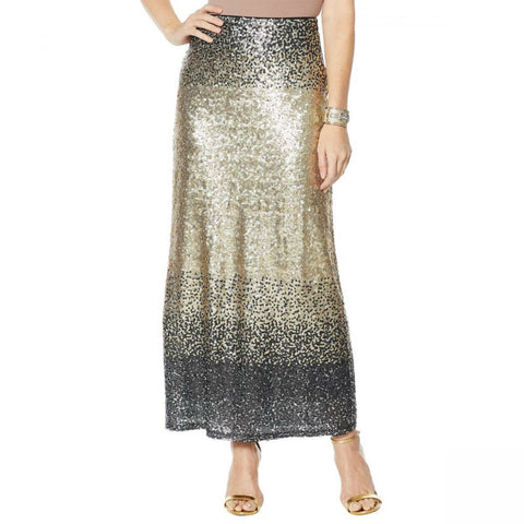 Heidi Daus Women's Distinctive Glamour Sequin Maxi Skirt
