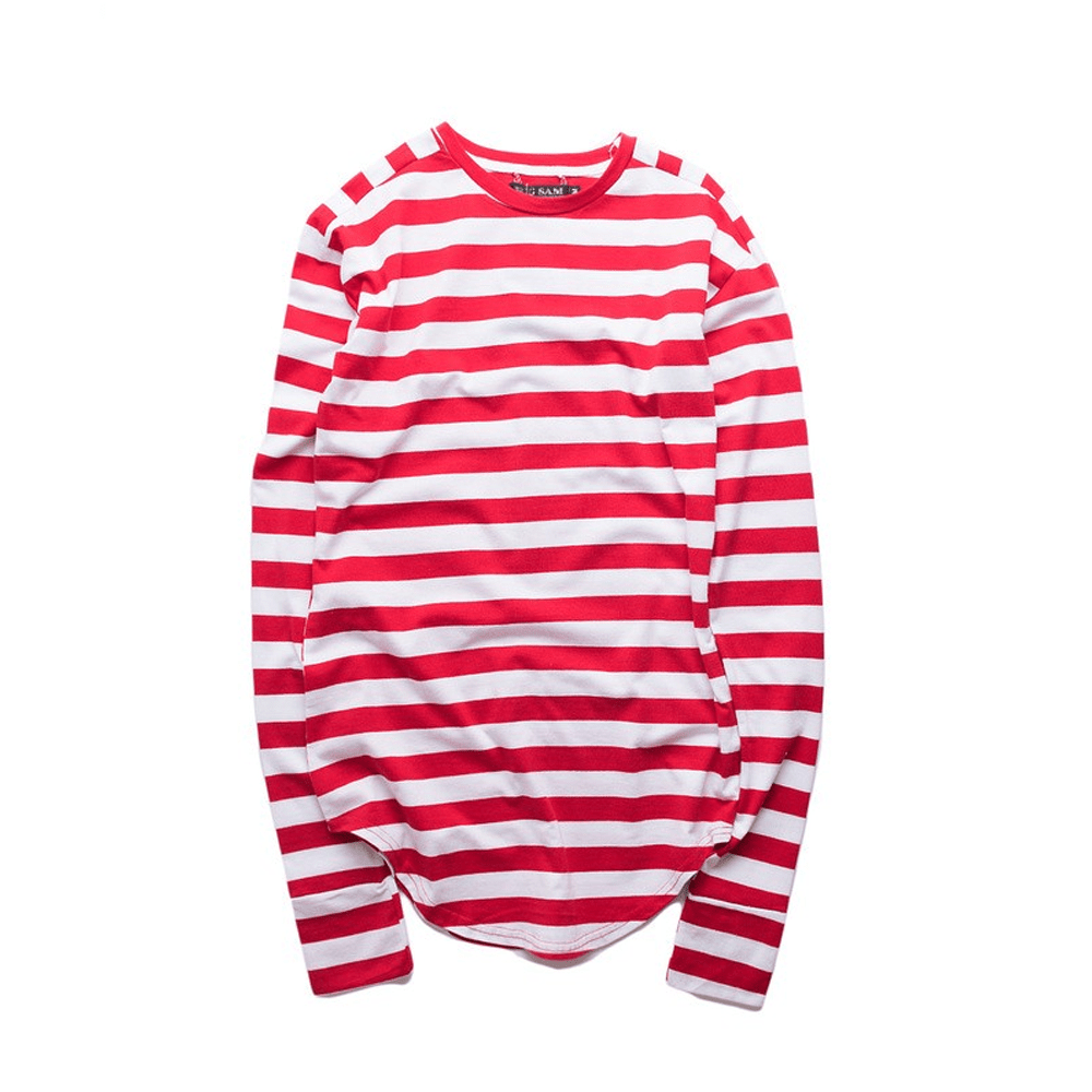 STRIPED CURVED HEM T-SHIRT - Topmanco