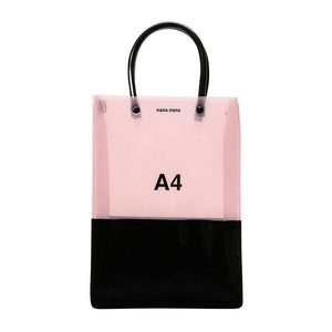 PVC X OPAQUE A4 BAG MILKY PINK X BLACK
