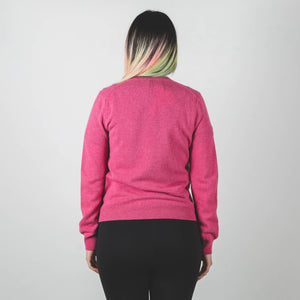 CDG PLAY Double Red Heart Knit Sweater Pink