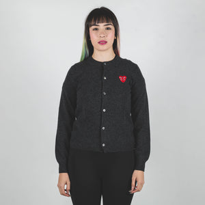 CDG PLAY Red Heart Knit Cardigan Oxford
