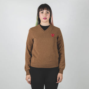 CDG PLAY Double Red Heart Knit Sweater Brown