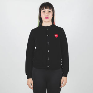 CDG PLAY Red Heart Knit Cardigan Black