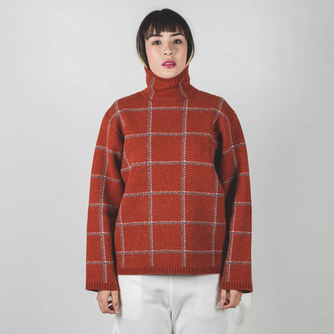 Undercover Orange Check Knitted Top