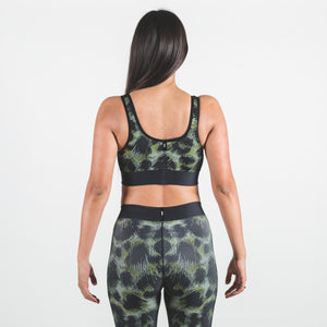 Leopard Ploom Scoop Neck Bra Olive