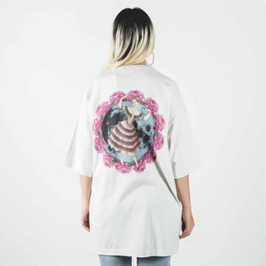 Undercover Oversized Ivory T-shirt With Rose Print